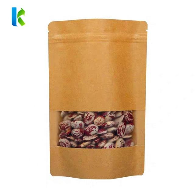 Stand Up Brown Kraft Paper Bag Zipper with Clear Window for Food and Beverage Packaging
