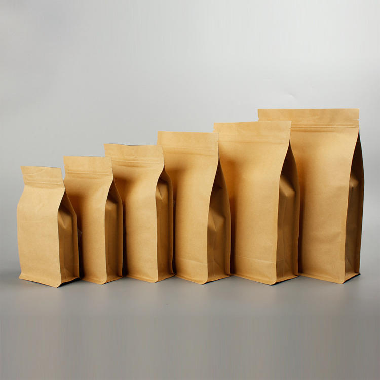 Foil Lined Eight Side Sealing Kraft Paper Bag without Printing Gravure Printing Accept