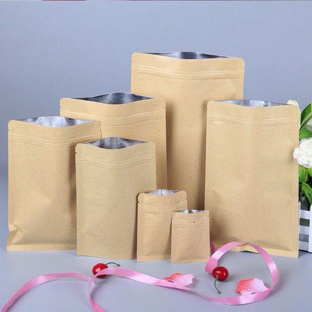 Nuts Packing Zipper Kraft Paper Bag