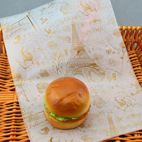 Custom printed food grade greaseproof paper for burger packaging