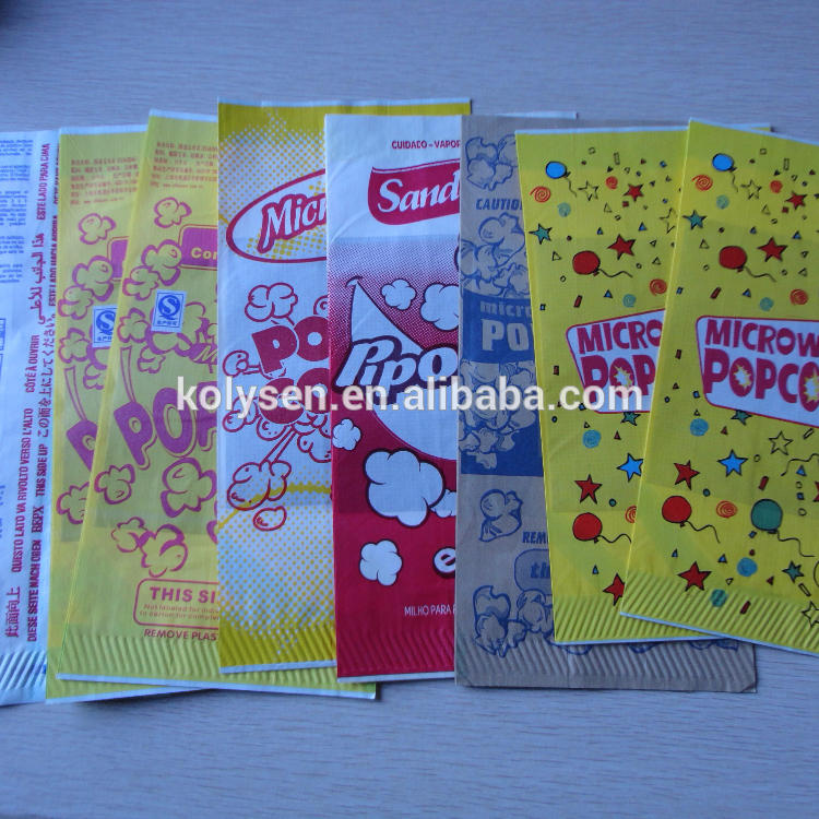 Microwavable Popcorn Paper Bag Heat Seal Food & Beverage Packaging Flexo Printing Recyclable Accept Used for Popcorn Packaging