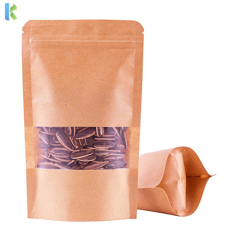 Wholesale Biodegradable Zipper Brown Kraft Paper Bags Coffee Food Stand Up Paper Tea Zipper Bag