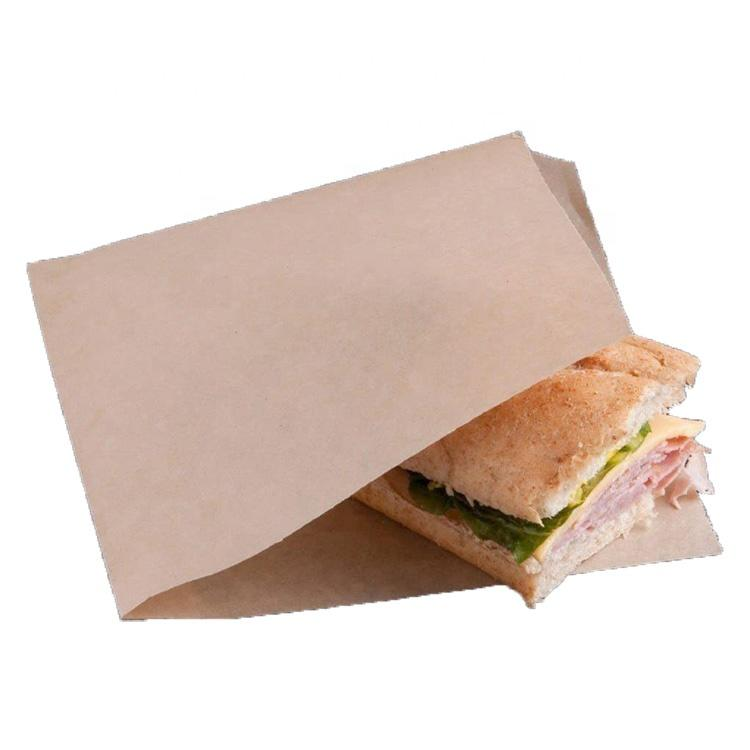 Moisture and grease resistant hamburger paper open bag
