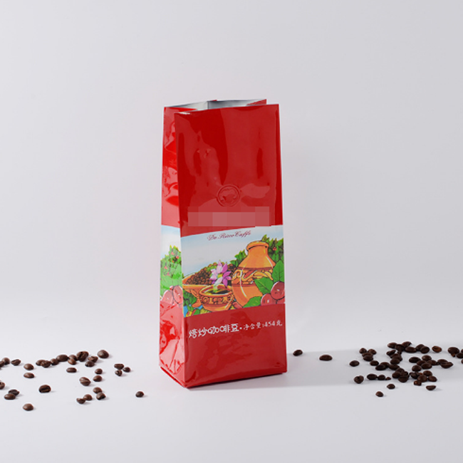 Heat sealing side gusset coffee packaging bag with valve