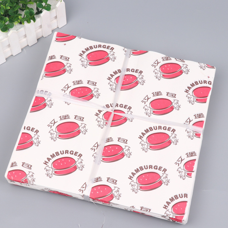 Wax coated wrapping paper for hamburger wrapping