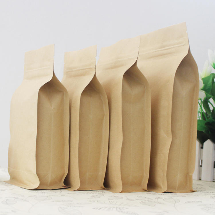 Food industrial use square bottom kraft paper bag with ziplock and tear notch