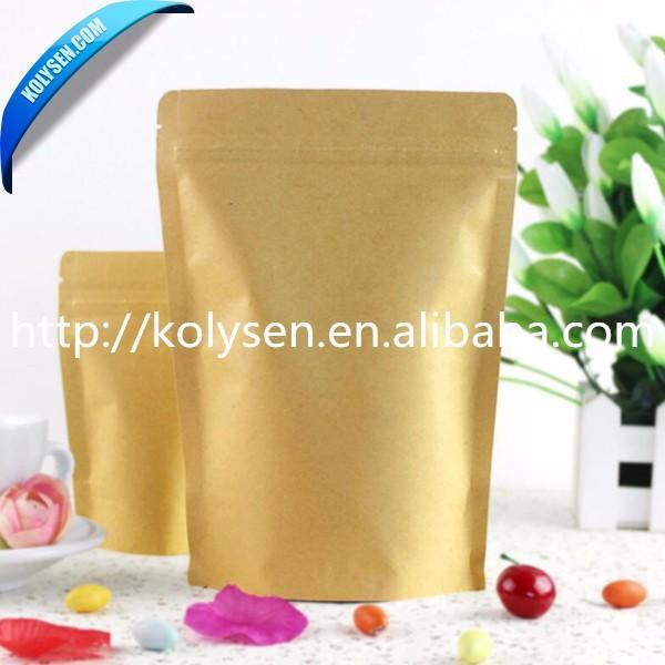 Wholesale standup ziplock kraft paper bag for nut/beans/powder packing