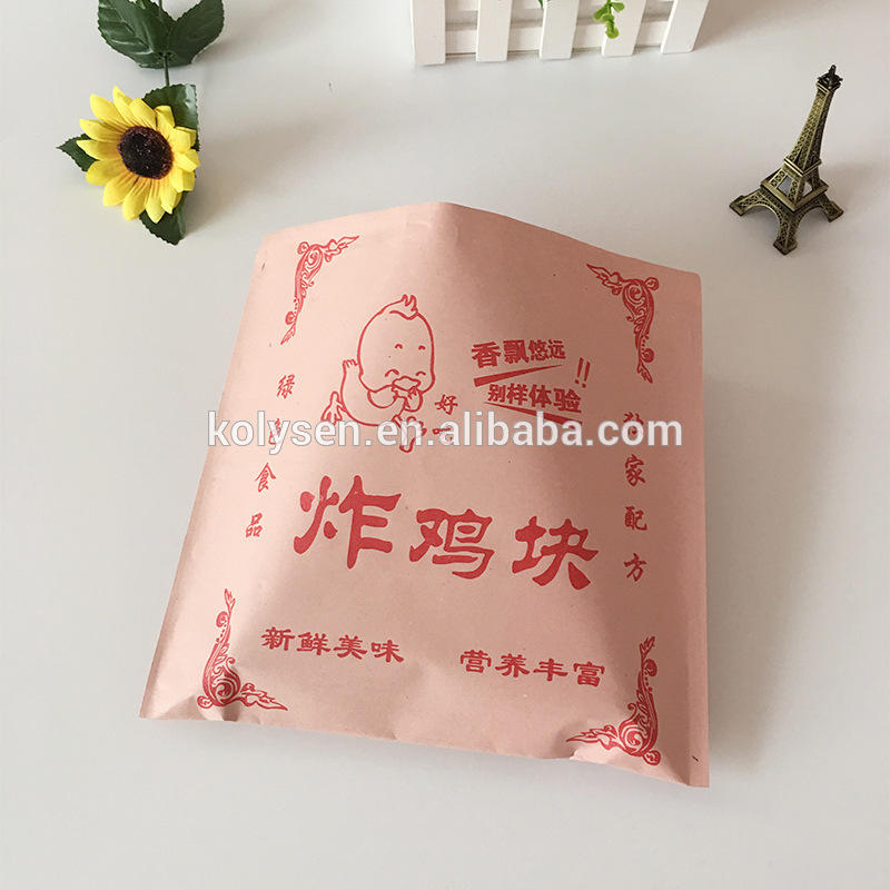 Brown kraft paper fried chicken hamburger wrapping bag