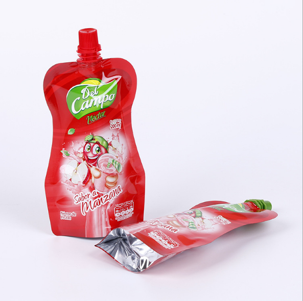 Lively shape colorful printing spout pouch for fruit juice packing