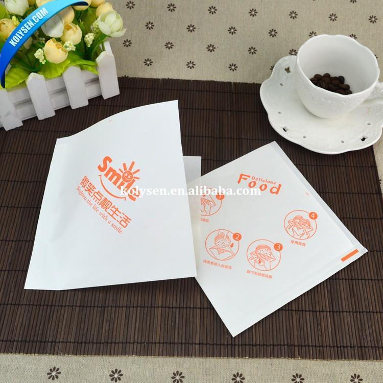 KOLYSEN Custom printedfood grade greaseproof paper bag Triangle oil proof burger wrap pocket with printed Wholesale