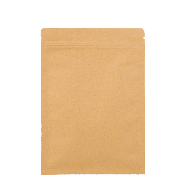 Food grade brown flat kraft paper bag with zip lock