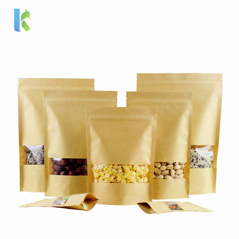 Paper Packaging Bags Stand Up Kraft Zipper Bag With Clear Window Doypack Pouch Sealable Coffee Food Candy Storage