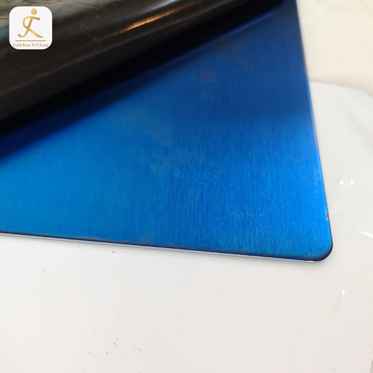 Hign End Custom 4X8 Colored Decorative Metal Ss Sheets Supplier 304 Ti Blue Hairline Finish Stainless Steel Sheet