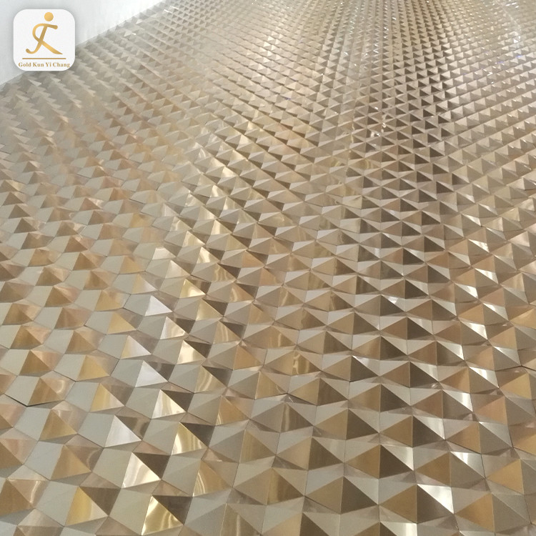 Decorative 201 304 3D-Wall Panel Metal Sheet Gold Color Coated Stainless Steel Sheets for sales