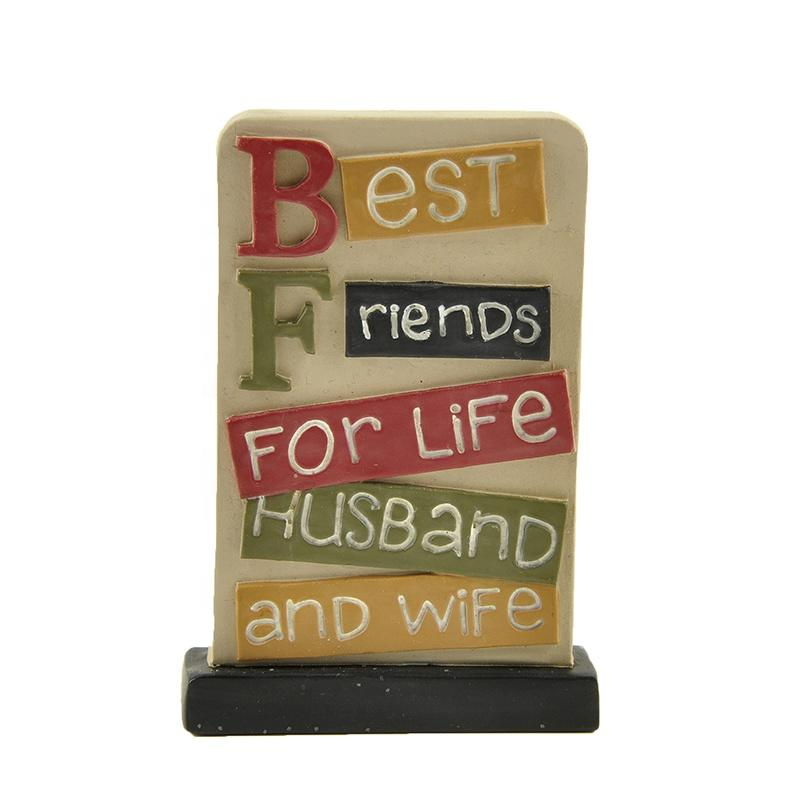 Birthday Present Best Friends for Life Husband and Wife Plaque Polyresin Souvenir