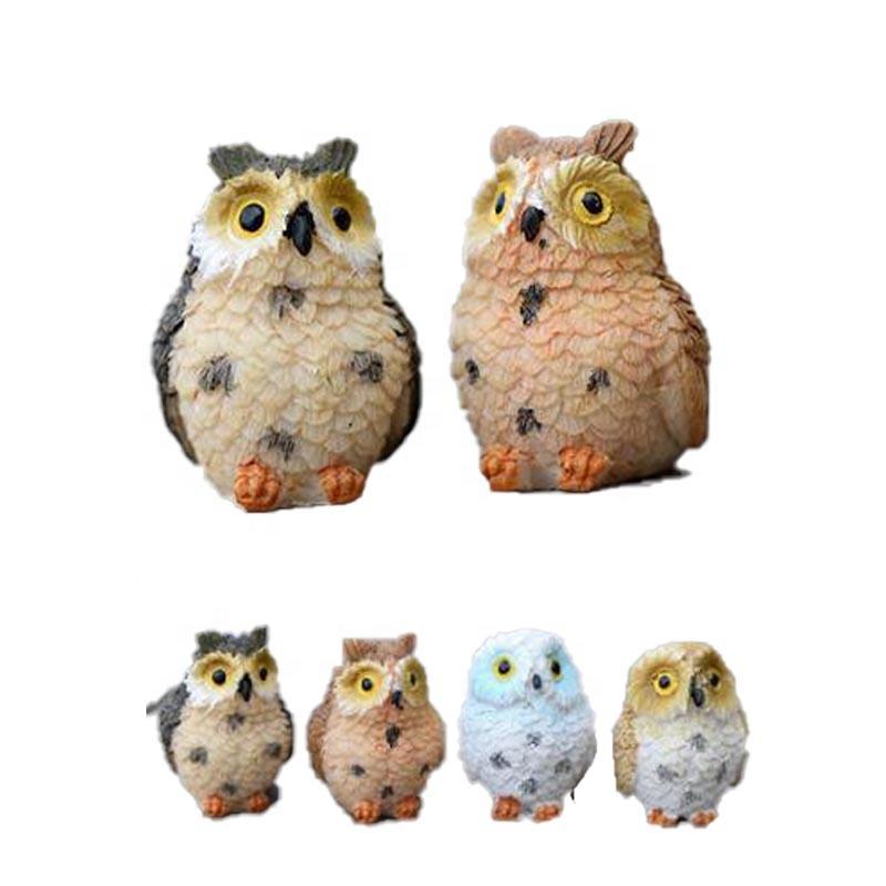 Popular miniature animal figurine resin crafts owl garden decoration