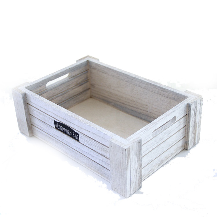 Simple useful Distressed vintage customized wooden box crate with handles