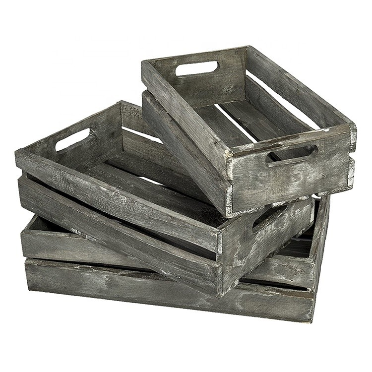 Wholesale mini wooden soda crate hamper wooden crate for fruits bottles,set of 4