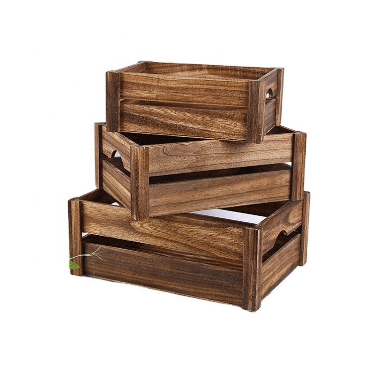 Vintage rustic wooden storage fruit crate decorative tray carrier box