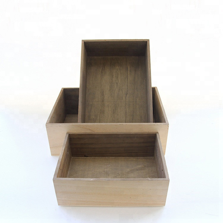 Popular pine wooden slatted storage crates for home decorate