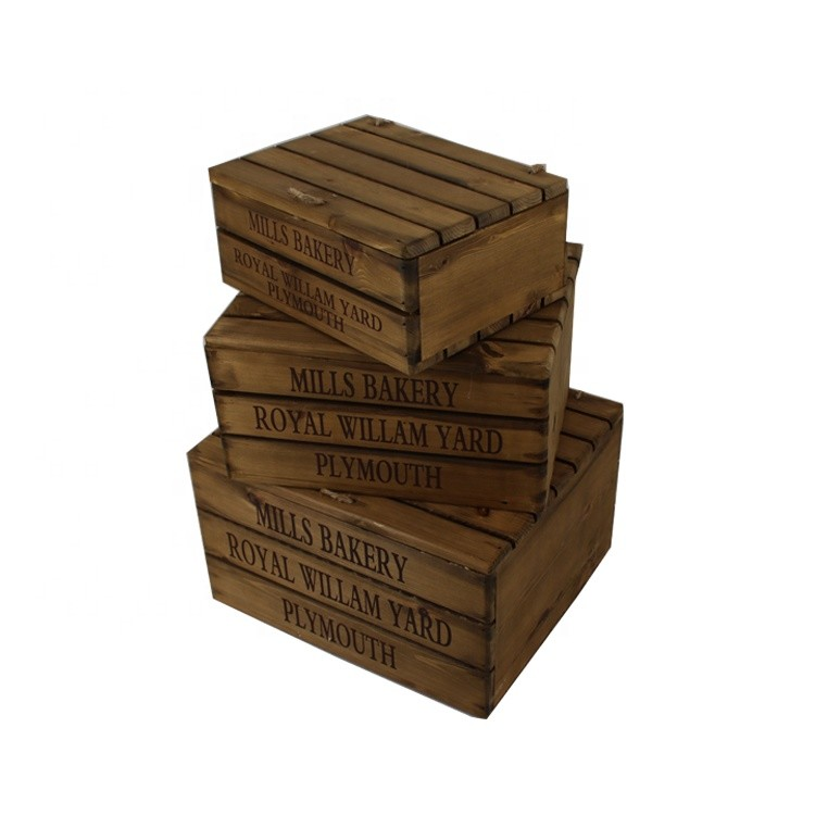 Distressed unfinished wooden beer storage crates maker nesting boxes,set of 3