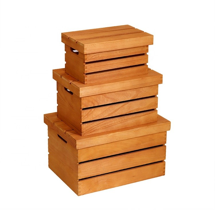 Wooden storage bin container wood shipping crate for fruit toys sundries