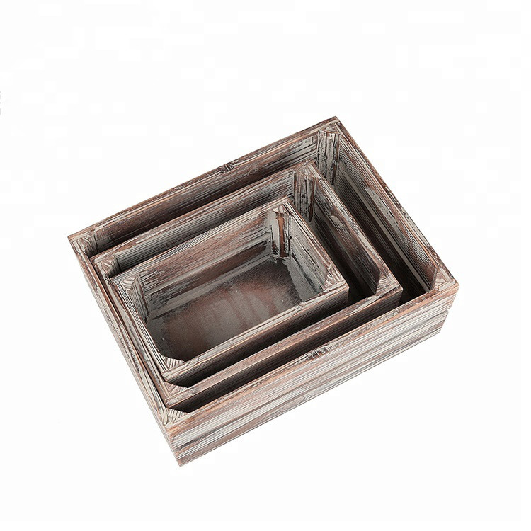 Wholesale handmade vintage simple useful storage wooden crates for sale