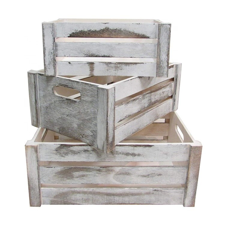 Decorative storage wooden crates for sale, set of 3, rope handles