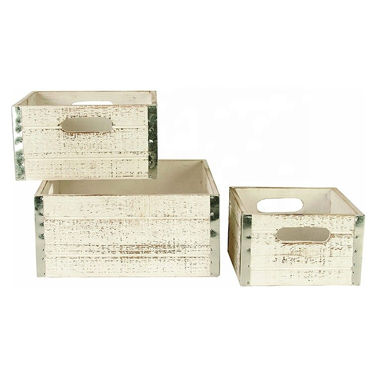 Wholesale unfinished small wooden apple crates for crafts set of 3