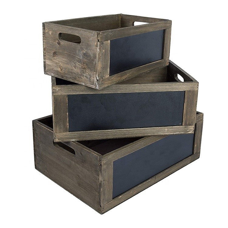 Vintage used gift wooden nesting storage crates eco-friendly Bulk Vegetable Storage Carving Pine Wooden Fruit Crates