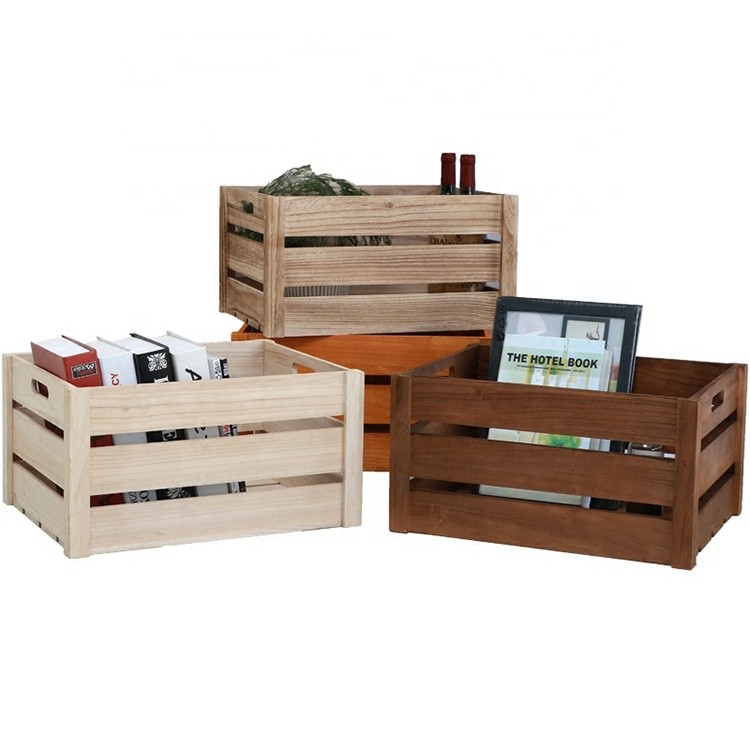 Set of 3 rustic finish brown wood nested crate shipping gift baskets