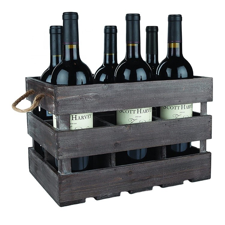 Vintage-style brown decorative wooden wine crate basket with handles