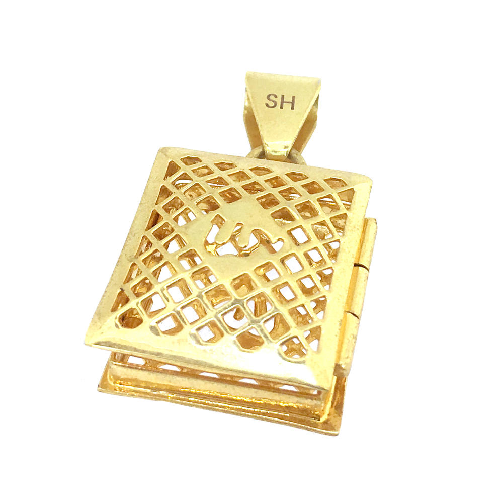 Shiny cheap hollow locket rolled gold jewelry