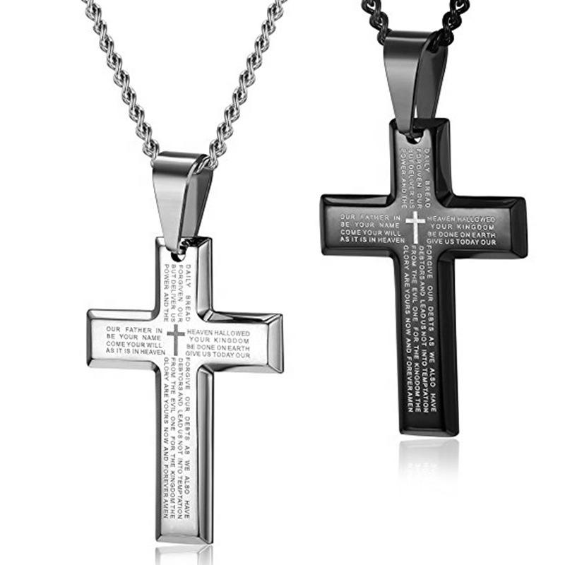 New Style Letter Engraved Jesus Cross Necklace Stainless Steel Black