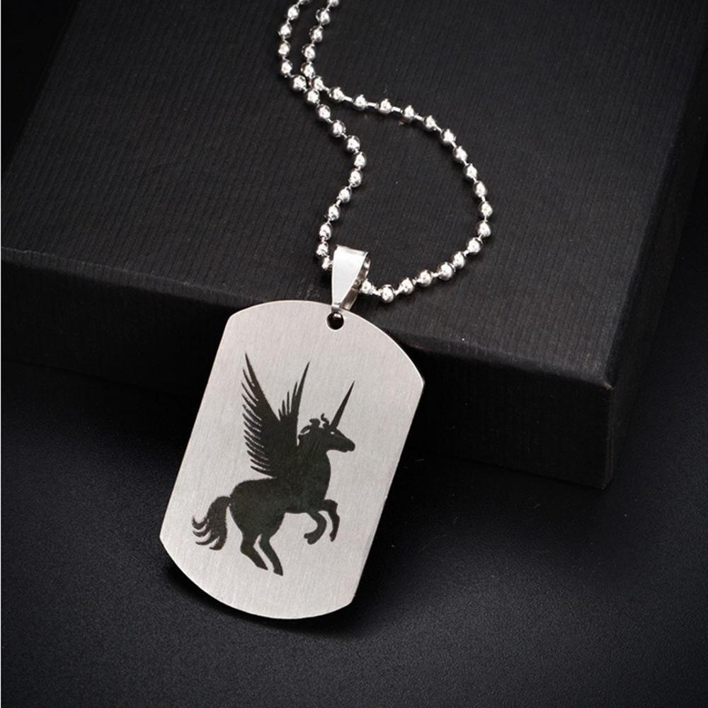 Custom stainless steel legendary engraved unicorn charm