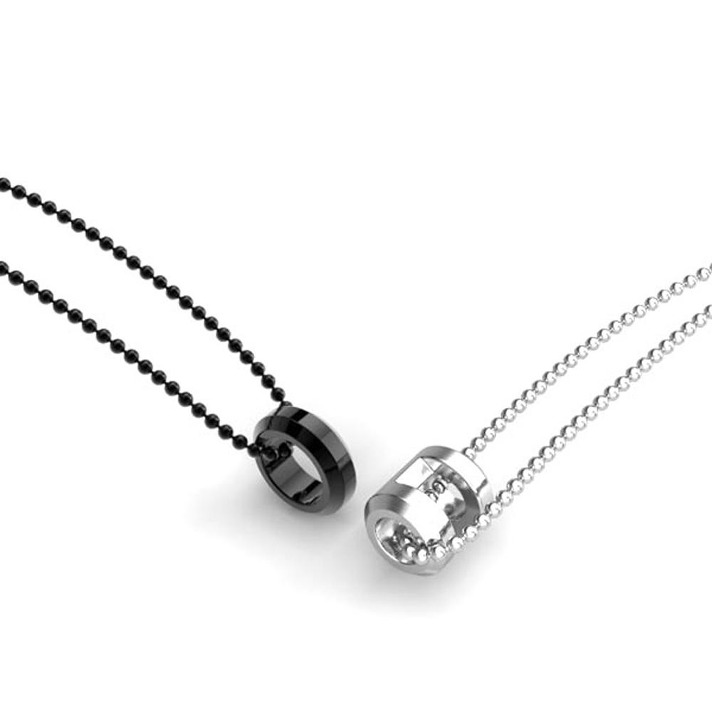Shiny silver and black couple jewelry in brazil