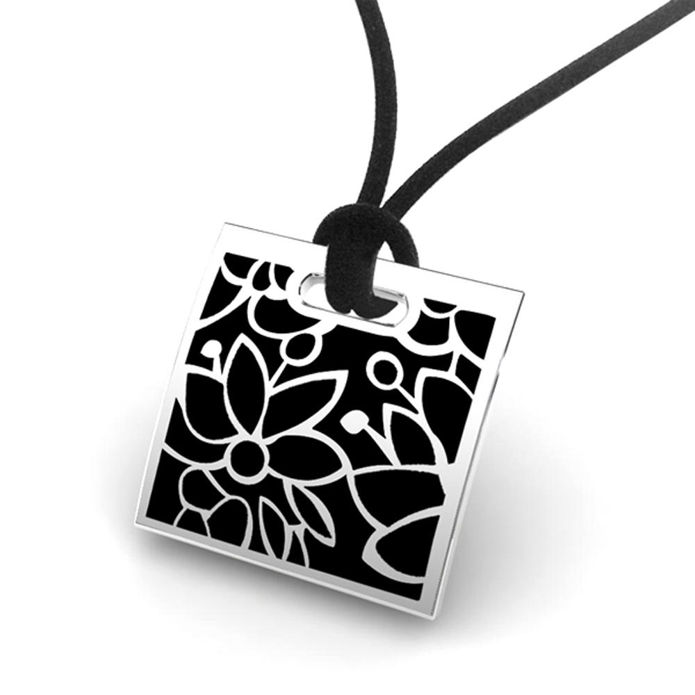 Stainless Steel Black Enamel Square Custom Stamped Metal Charms