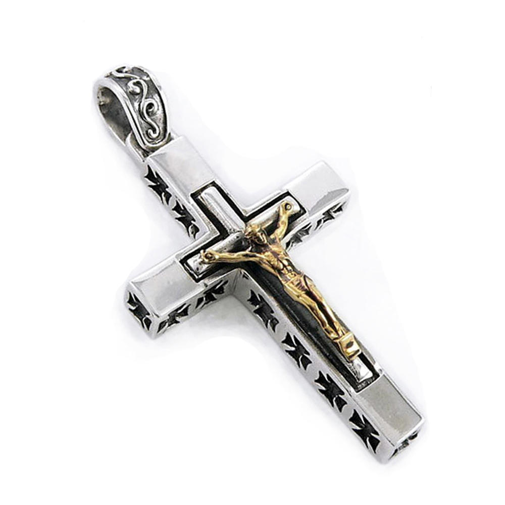 Delicate Stainless Steel Jesus Catholic Cross Pendants Necklace