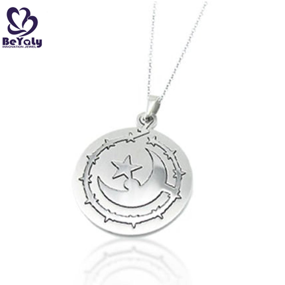 Wholesale cheap stainless steel custom round crescent moon charm