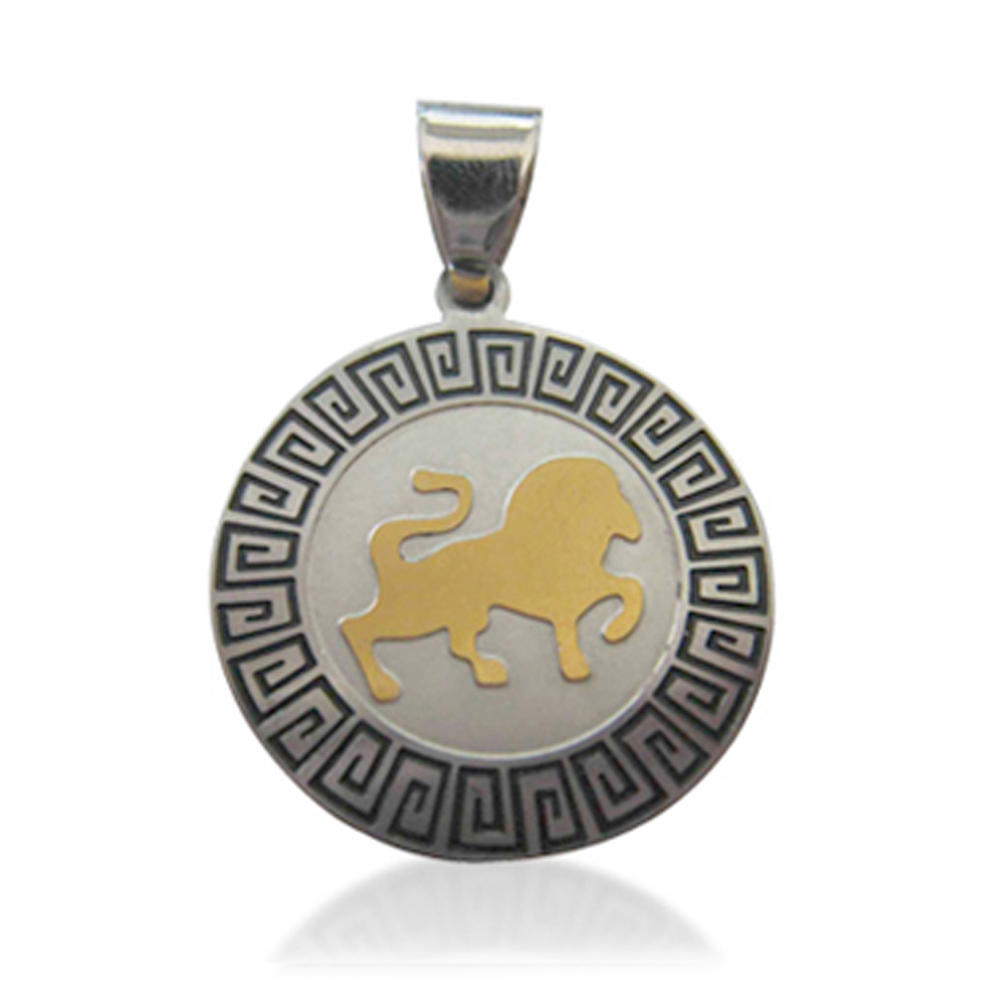 Gold lion carved round customize logo necklaces pendant