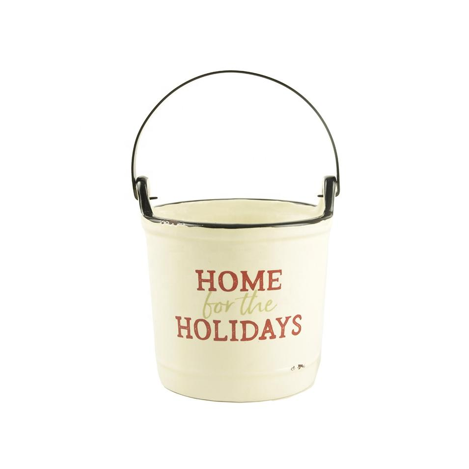 Factory Wholesale New custom design Ceramic Christmas indoor candle holder bucket Crock with handle decoration
