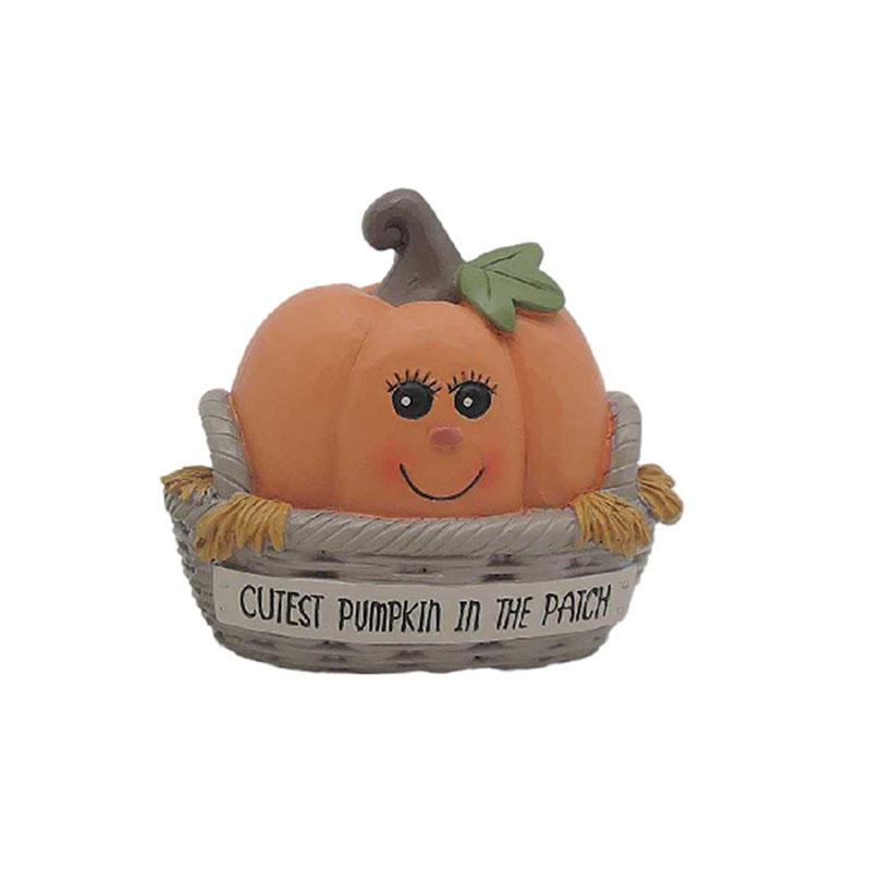 Pumpkin Kid In A Rattan Basket Resin Pumpkin Decoration For Home Decorations