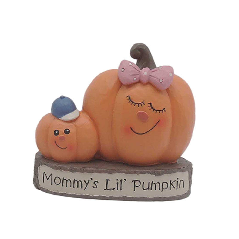 Thanksgiving Pumpkins Mother With Bow Tie And Son On Wooden Stakes Resin Pumpkin Decoration