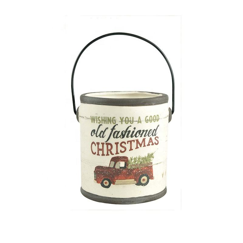 Wholesale New design custom personalized factory Ceramic Christmas indoor decor Crock with handle decoration