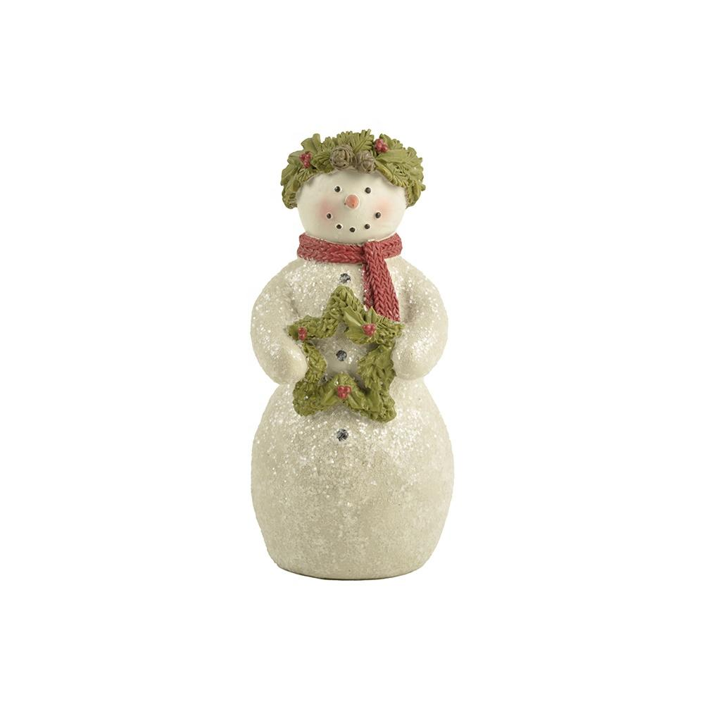 Factory Hot sale New custom design Cute Christmas Snowman with wreath decoration Indoor Home decor
