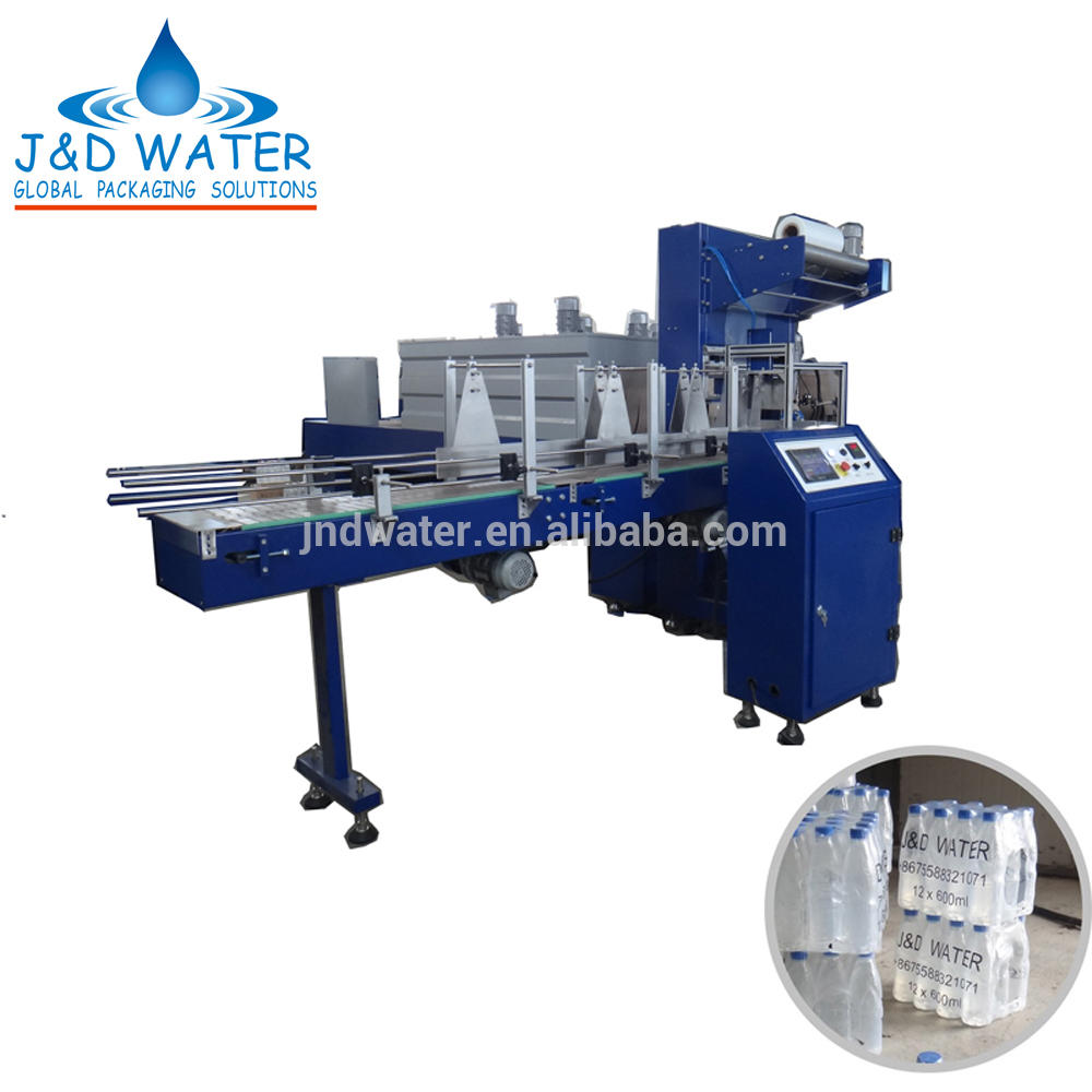 Small automatic plastic pet bottle PE PVC POF PP film shrink wrapping machine