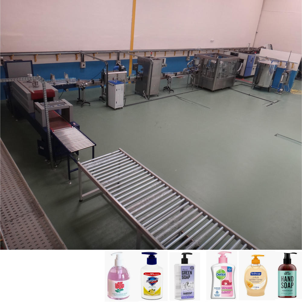 Complete small bottle liquid hand wash hand soap production line filling laeling and packing