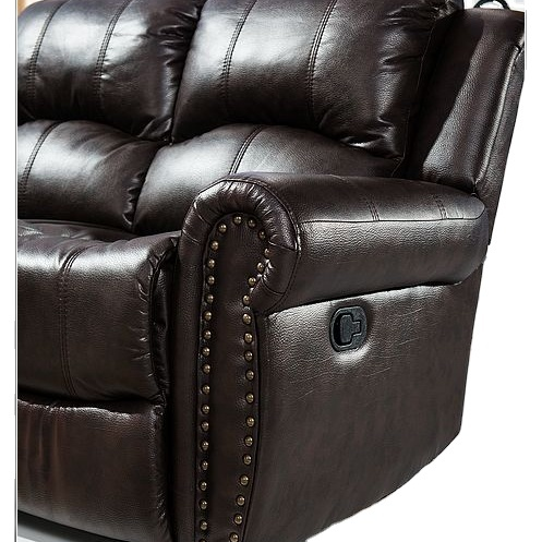 2021 Living room sofas Traditional Reclining Sofa with Nail head Studs