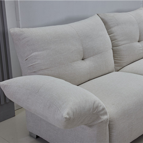 New design modern fabric couches with function armrest and metal leg