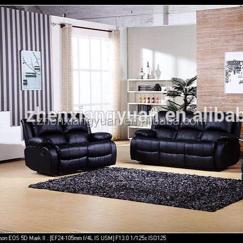 Living room furniture big sales genuine cheap leather recliner Black Leather sofa sales